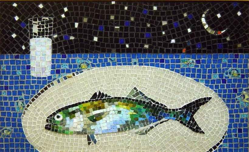 Rakı Balık Mozaik Tablo